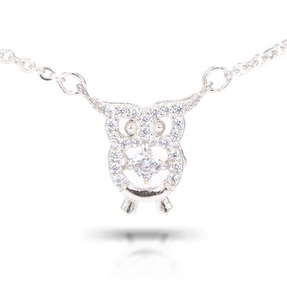 Cubic Zirconia Owl Necklace