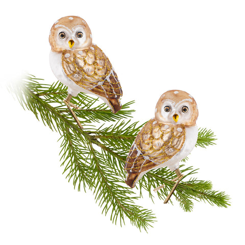 gold clip blown glass owl ornaments