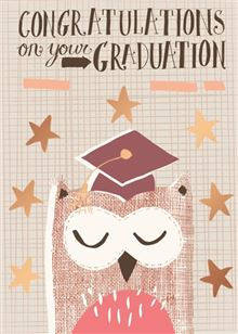 Owl Graduation Cap Greeting Card - Owl Aisle
