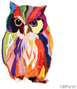 Colorful Leros Owl Dinner Napkin