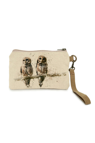 owl canvas wristlet