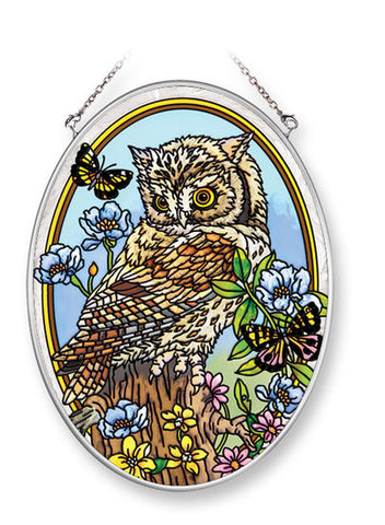 "Young But Wise Owl Suncatcher, Oval 7"" x 5.5"""