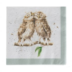 owl pair cocktail napkin front