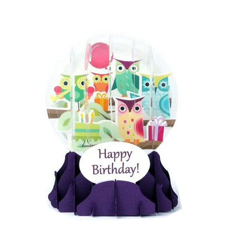Pop Up Snow Globe Owl Birthday Card