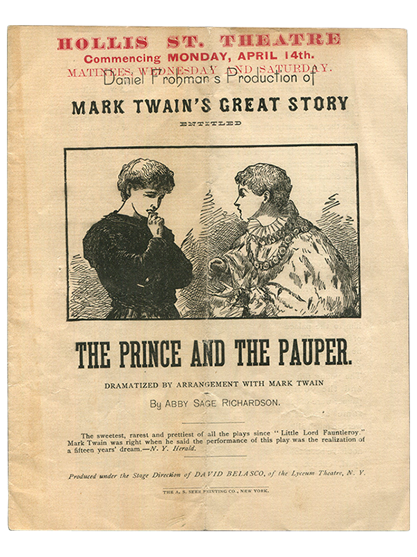 [Mark Twain (source)]. Daniel Frohamn (producer) and Abby Sage Richardson. The Prince and the Pauper. [April, 1889]. First edition.