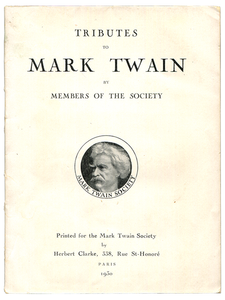 [Mark Twain (subject)]. Cyril Clemens (editor). Tributes to Mark Twain. 1930. First edition.