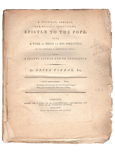 Peter Pindar [John Wolcot]. A Poetical, Serious, and Possibly Impertinent Epistle to the Pope. 1793. First edition.