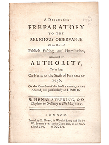 Henry Stebbing. A Discourse Preparatory to the Religious Observance of the Day of Public Fasting and Humiliation. 1756. First edition.