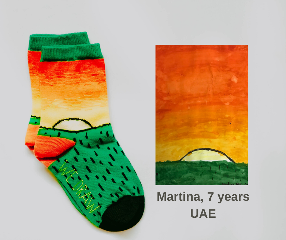 kids socks designed by kids - sunset