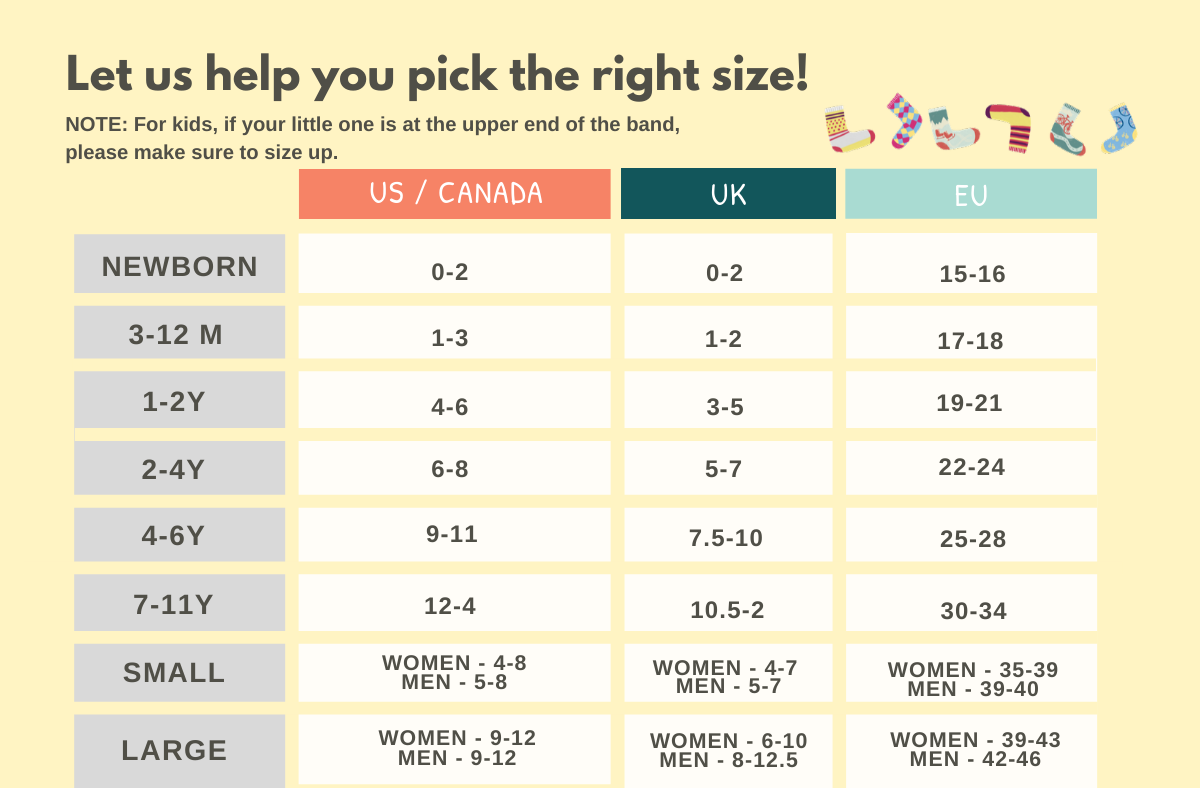 socks sizing chart