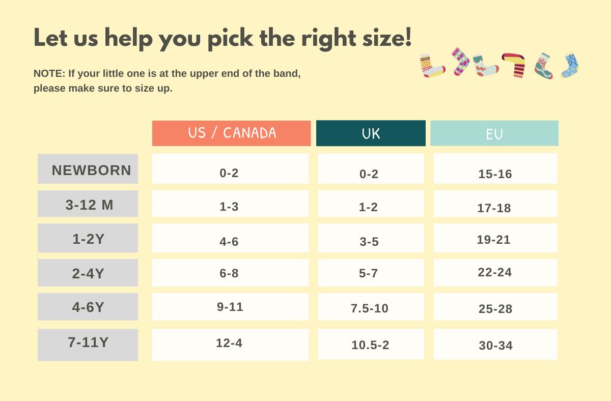 kids socks sizing chart