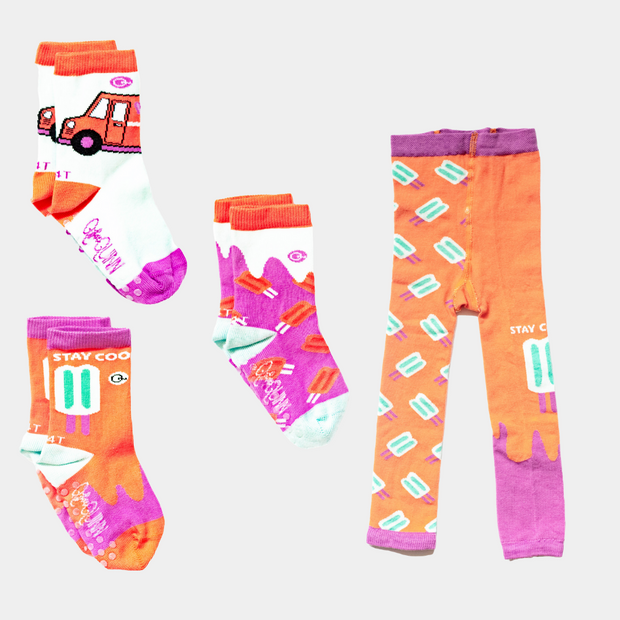 Organic Baby, Toddler, Kids Socks & Tights Bundle - Popsicle