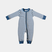 Organic Baby Onesie - Sailor Stripes - Zip up, Footless