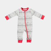 Organic Baby Onesie - Winter Wonderland - Zip up, Footless