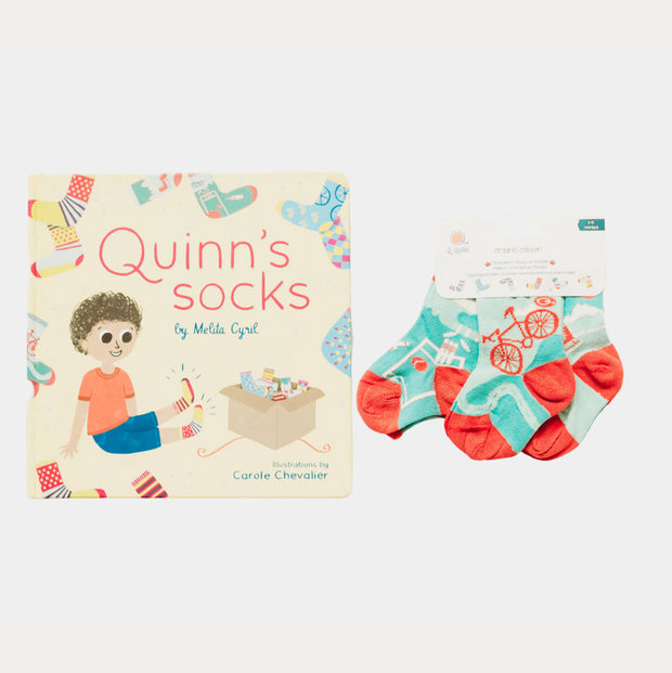 Quinn's socks book and matching socks gift bundle