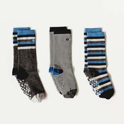 cute merino wool socks for kids, blue and grey with stripes