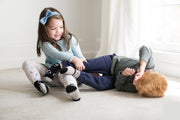Children playing while wearing Monochrome Monsters seamless organic socks | Q for Quinn