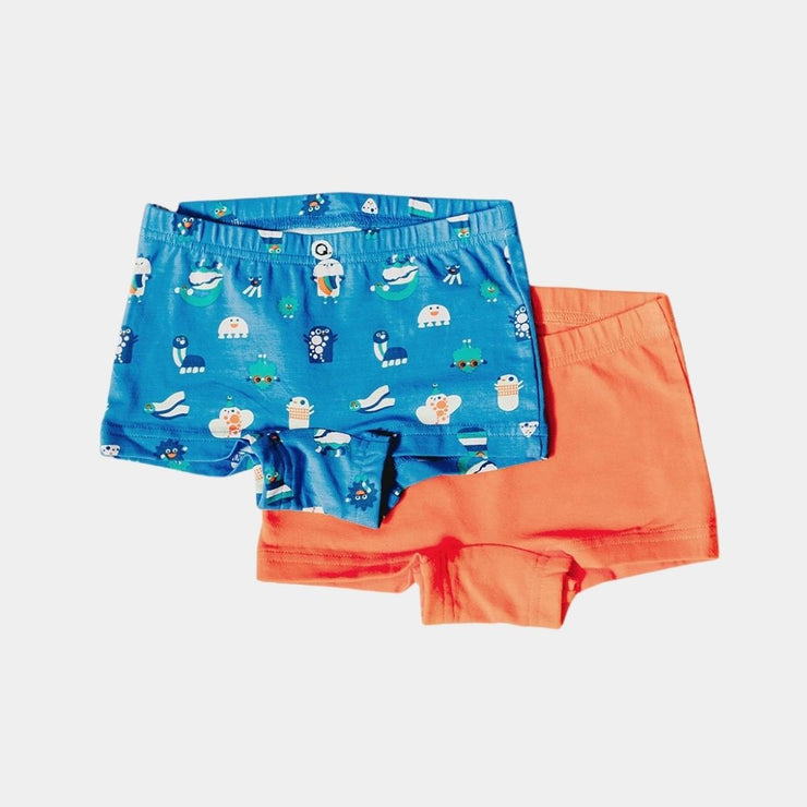 Organic Cotton Girls Boyshorts -  Funny Creatures - 2 Pairs