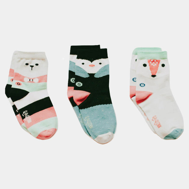 Organic Baby, Toddler Socks - Artic Animals - 3 pairs