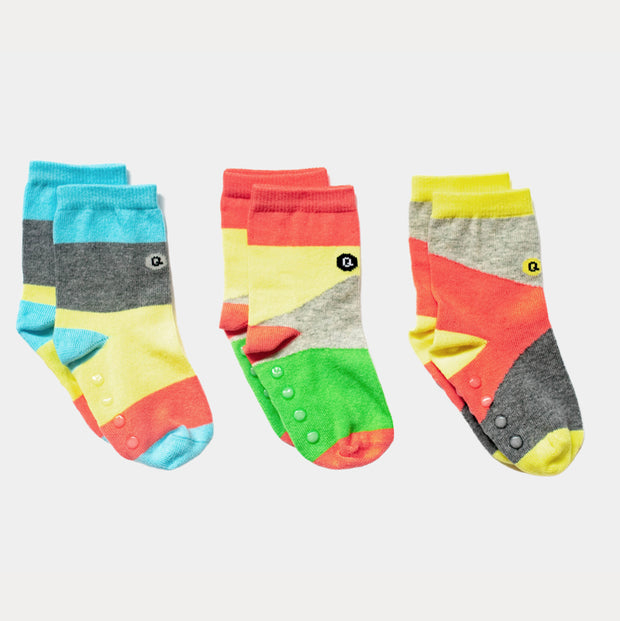 Organic Baby socks - Blocks of Colour - 3 pairs (add matching adult socks!)