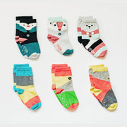 Gift bundle set of 6 pairs of socks, 2 designs - Arctic Animals, Blocks of Colour