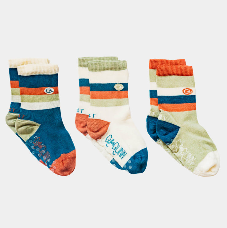3 pairs of 'Camo Stripe' socks , organic cotton, seamless | Q for Quinn
