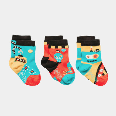 3 pairs of baby socks - 'Inside a Robot' design | Q for Quinn
