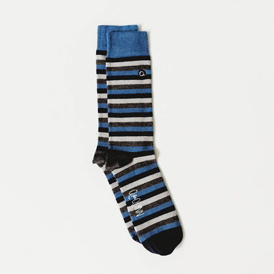 merino wool men adult socks blue stripes with grey