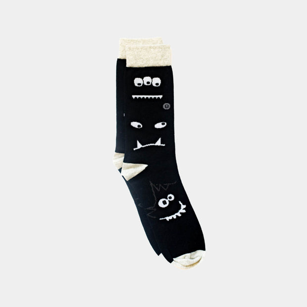 Organic Adult Socks - Monochrome Monsters - 1 pair
