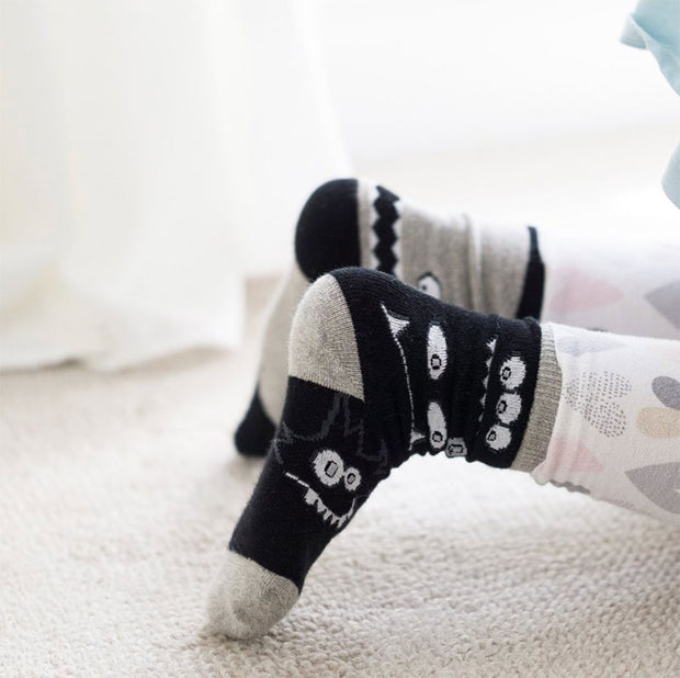 Organic cotton kids socks - monochrome monster