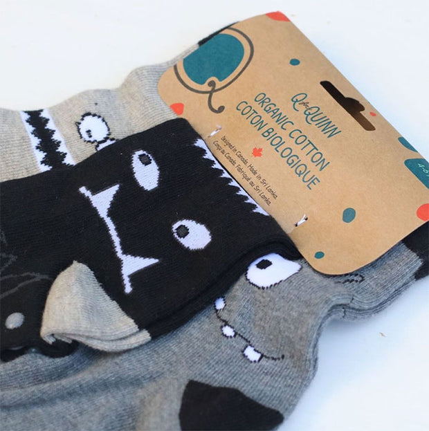 pack of 3 pairs of organic cotton toddler socks - monochrome monsters