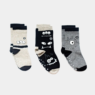 3 pairs of kids socks - seamless, organic cotton - monochrome monsters design