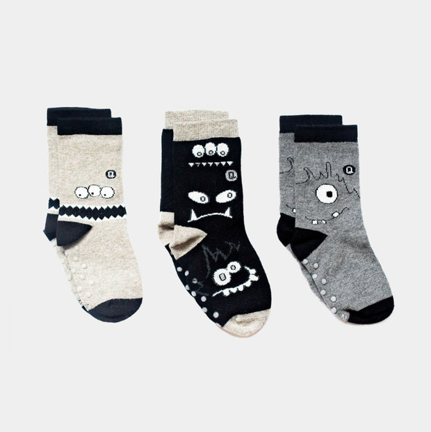 Organic Baby Socks - Monochrome Monsters - 3 pairs