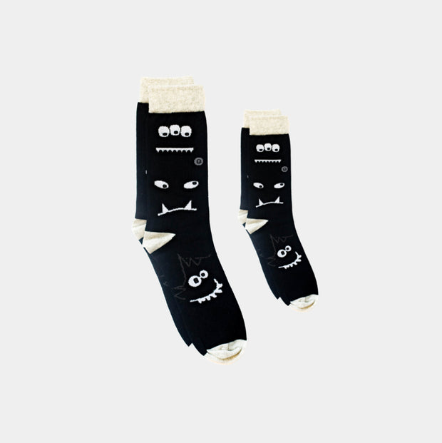 Matching Family Socks - Daddy and Me - Monochrome Monster