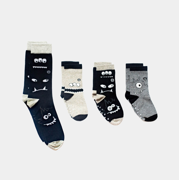 Pairs of Adult and Kids socks in Monochrome Monsters design | Q for Quinn