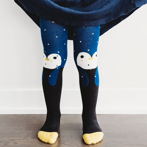 Girls Penguin Tights | Q for Quinn