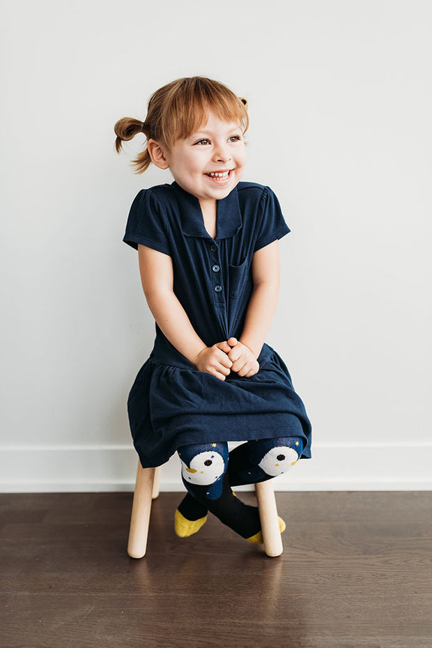 Organic Girls Tights - Penguin