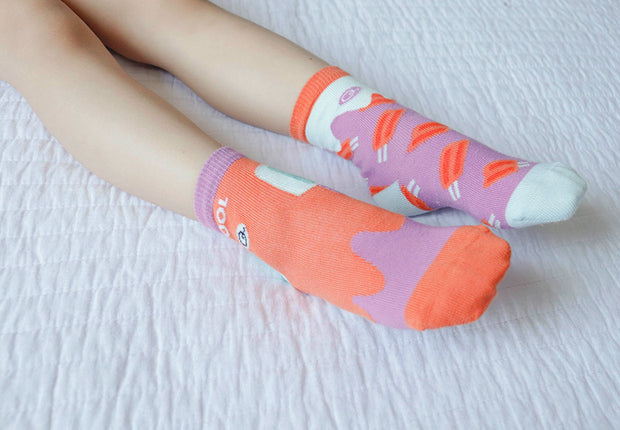Bright fun socks in popsicle design | Q for Quinn