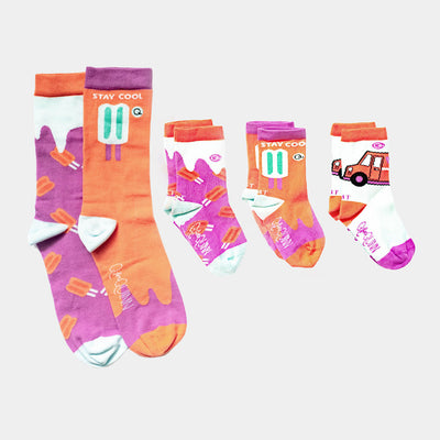 Adult and kids matching socks -Mommy and Me Socks - Popsicle design