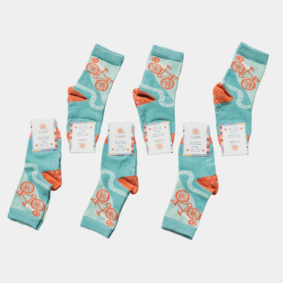 bundle of 6 pairs of organic cotton, seamless socks - Quinn Cycles design | Q for Quinn