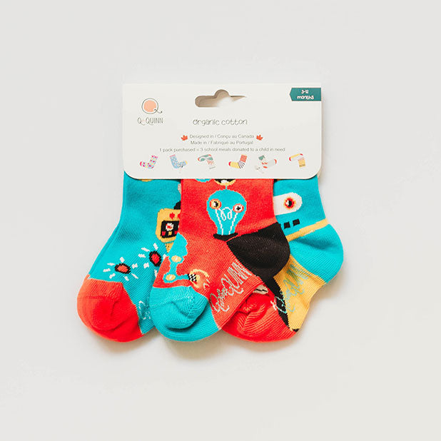 Organic Baby, Toddler Socks - Inside a Robot - 3 pairs