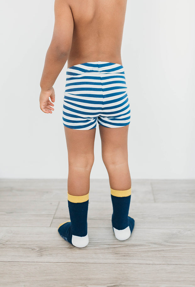 Organic Cotton Boys Boxer Briefs -  Sailor Stripes - 2 Pairs