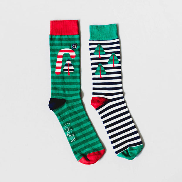 Organic Adult Socks - Candy Cane Christmas - 1 pair
