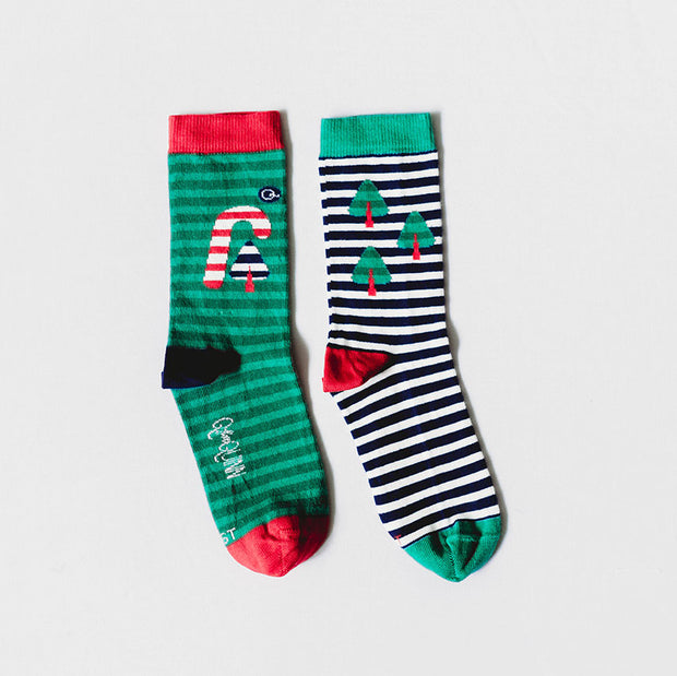 Organic Baby, Toddler, Kid Socks - Candy Cane Christmas - 1 Pair