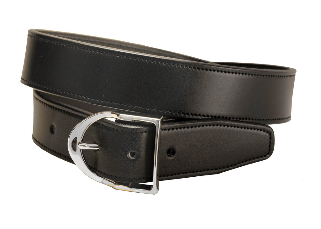 Black Leather Stirrup Belt