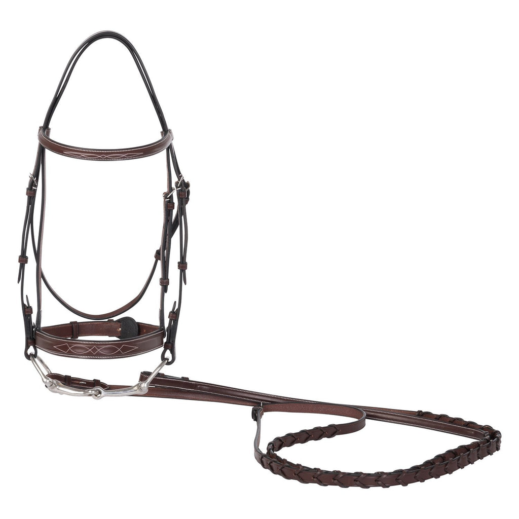 Huntley Equestrian Fancy Square Raised Hunter Bridle w/Reins
