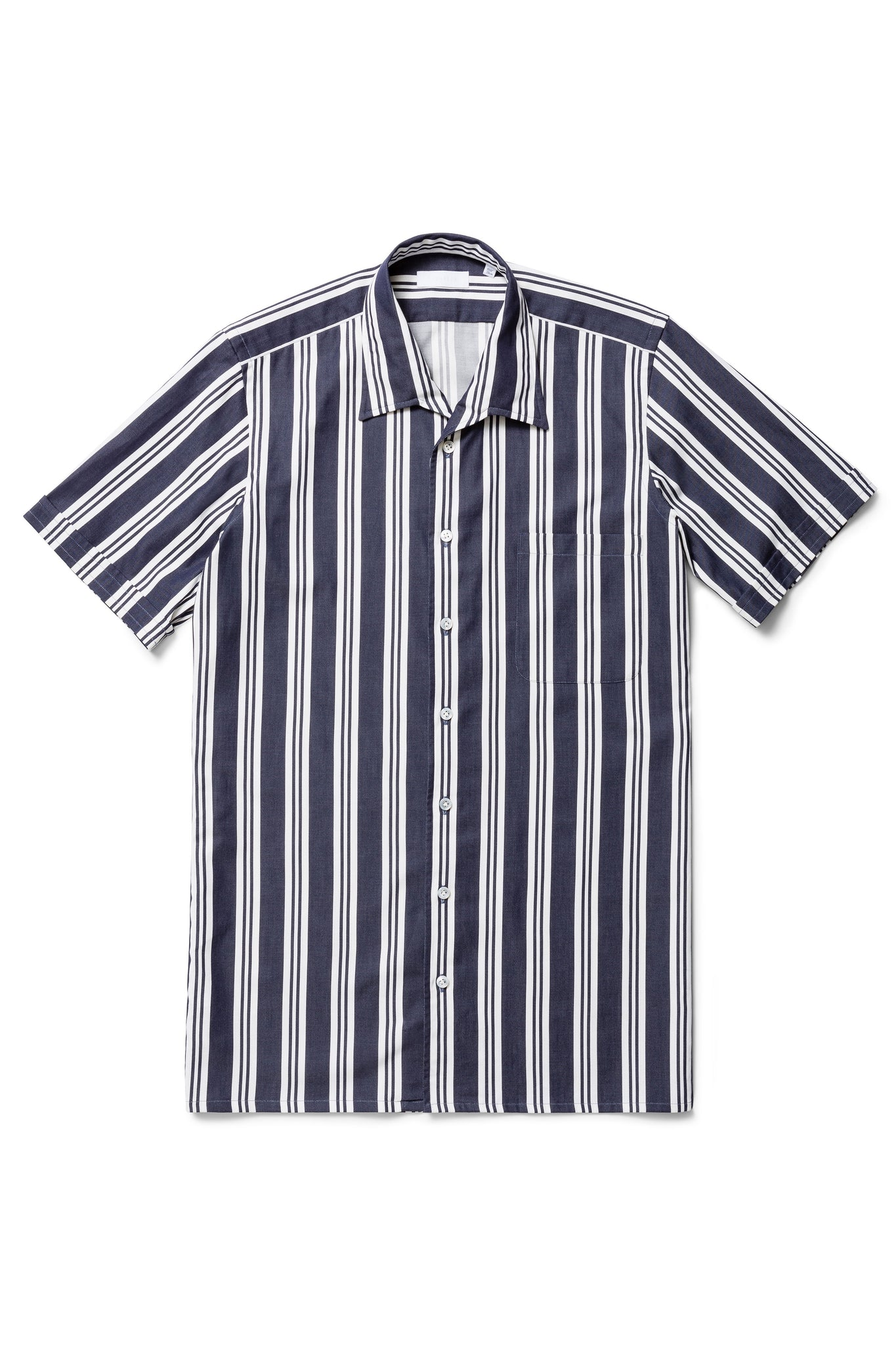 Navy and White Irregular Stripe Short Sleeve Shirt