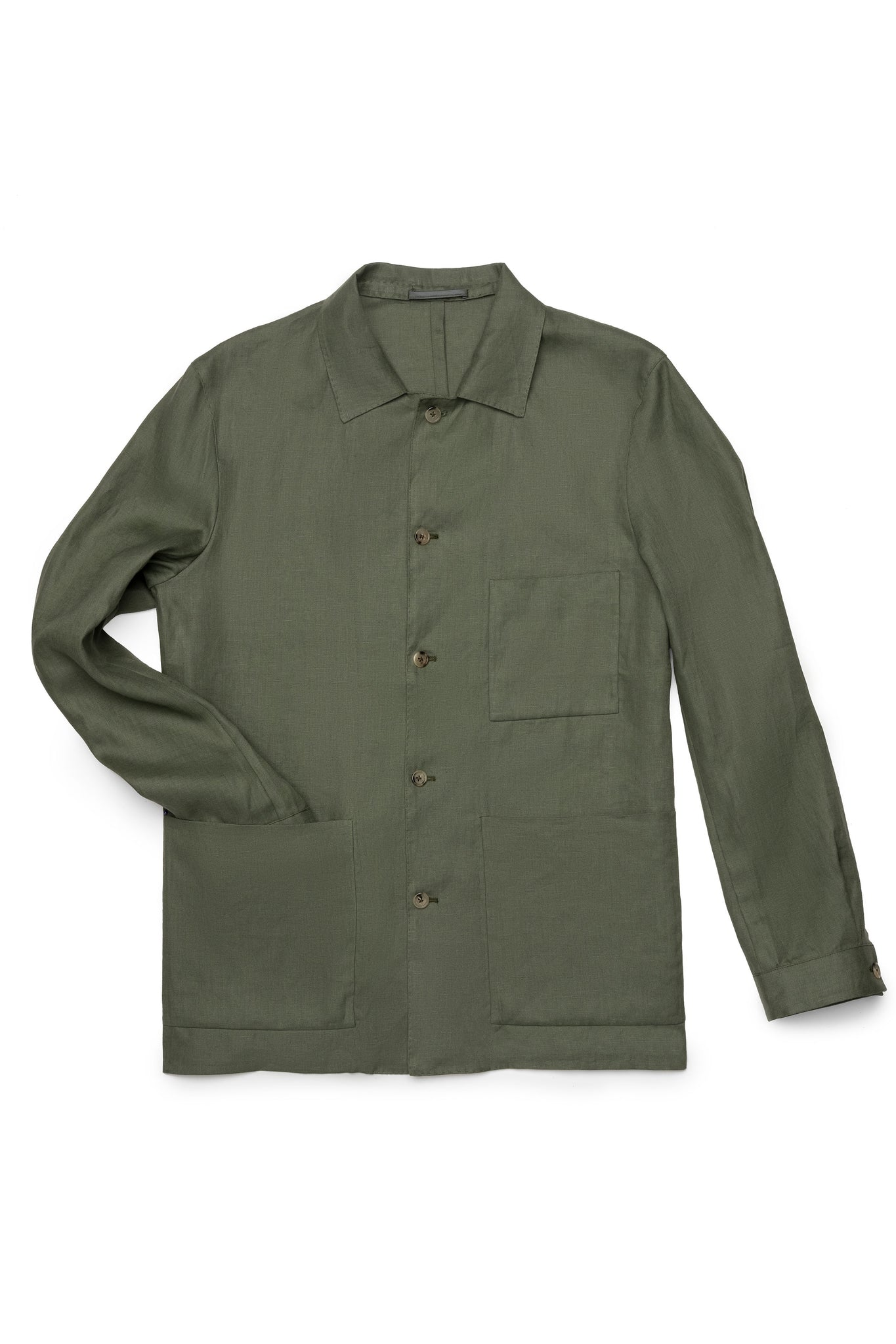 P Johnson Army Green Linen Shirt Jacket