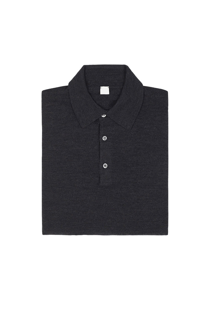 Dark Grey S160 Merino Wool Polo