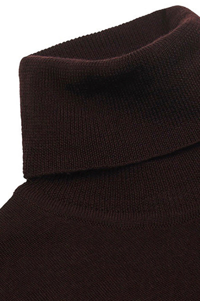 Dark Brown Merino Rollneck